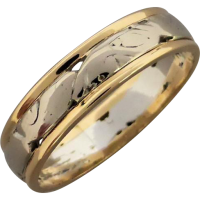 vintage_18ct_white__yellow_gold_patterned__pierced_band Beryl Lane - Vintage (1920- 1970)