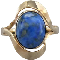 vintage_lapis_gold_ring Beryl Lane - Vintage Retro Sapphire and Diamond Ring in 18ct white Gold