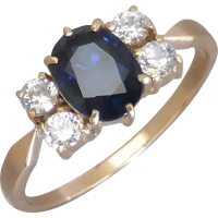 vintage_sapphire_ring Beryl Lane - Vintage Retro Sapphire and Diamond Ring in 18ct white Gold