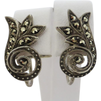vintage_sterling_silver_marcasite_earrings Beryl Lane - Vintage Germany 3 piece Duet Sterling Silver Marcasite Dress/Fur Clips- Brooch
