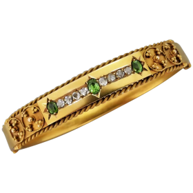 antique-victorian-15k-gold-demantoid-garnet-and-diamond-bangle Beryl Lane - Shop by category