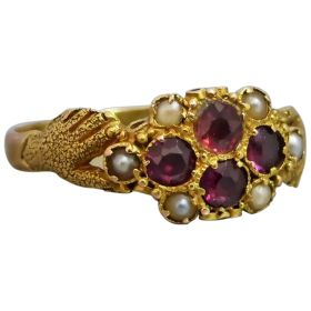 antique-victorian-fede-garnet-seed-pearl-ring Beryl Lane - Shop by category