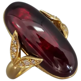 estate-18k-gold-cabochon-garnet-diamond-ring Beryl Lane - Shop by category