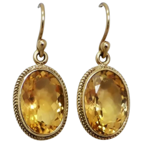 estate-9ct-gold-golden-yellow-citrine-dangle-earrings Beryl Lane - Shop by category