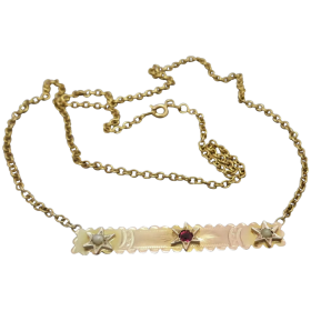 upcycled-9k-gold-garnet-doublet-seed-pearl-necklace Beryl Lane - Shop by category