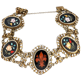 victorian-filigree-silver-gilt-pietra-dura-bracelet Beryl Lane - Shop by category