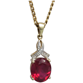 vintage-9k-gold-synthetic-ruby-diamond-pendant Beryl Lane - Shop by category