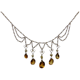 vintage-gold-plated-citrine-pearl-fringe-necklace Beryl Lane - Shop by category