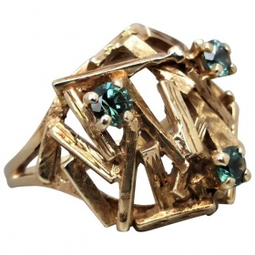 vintage-retro-9ct-gold-synthetic-spinel-brutalist-ring Beryl Lane - Shop by category