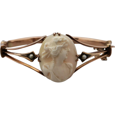 antique-australian-cameo-bangle Beryl Lane - Antique 9ct Rose Gold Pearl and Cameo Bangle
