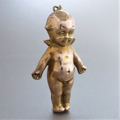 antique-gold-kewpie-pendant_1 Beryl Lane - Antique Large 9ct Gold Kewpie Doll with Angel Wings Charm Pendant