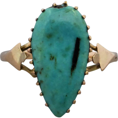 edwardian-turquoise-ring Beryl Lane - Antique c1910's Tear-shaped Turquoise Ring in 9ct Gold