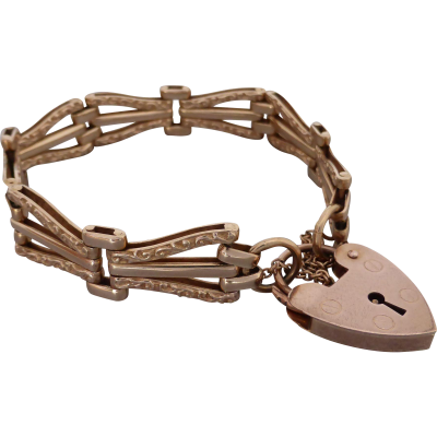 estate-9ct-rose-gold-gate-bracelet Beryl Lane - Estate 9ct Rose Gold Patterned Gate Padlock Bracelet