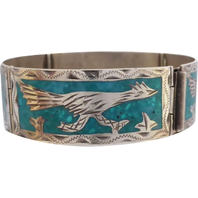 mexican_road_runner_turquoise_bracelet Beryl Lane - Vintage Mexico Sterling Silver Turquoise Mosaic Road Runner Bird Bracelet Bangle