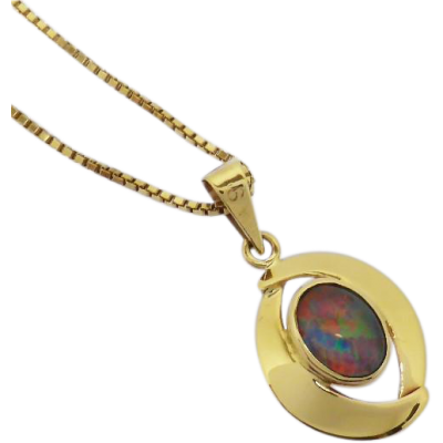 opal_vintage_pendant Beryl Lane - Vintage Retro 60's Colourful Opal Triplet Pendant with 9ct Gold Necklace