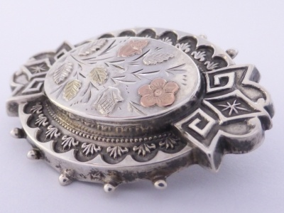 p1030342 Beryl Lane - Victorian Sterling Silver Brooch with Gold Floral Overlay
