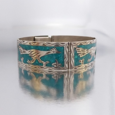 p1100095 Beryl Lane - Vintage Mexico Sterling Silver Turquoise Mosaic Road Runner Bird Bracelet Bangle