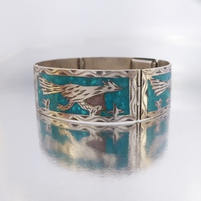 p1100096 Beryl Lane - Vintage Mexico Sterling Silver Turquoise Mosaic Road Runner Bird Bracelet Bangle