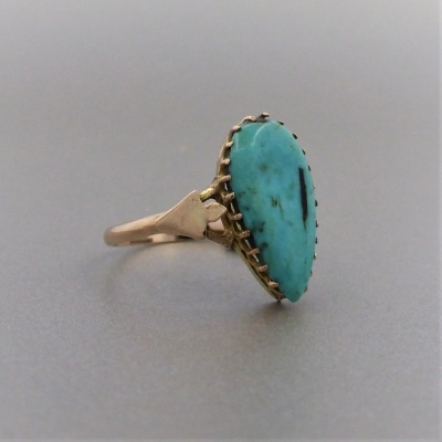 p1140469 Beryl Lane - Antique c1910's Tear-shaped Turquoise Ring in 9ct Gold