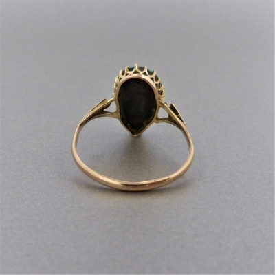 p1140470 Beryl Lane - Antique c1910's Tear-shaped Turquoise Ring in 9ct Gold