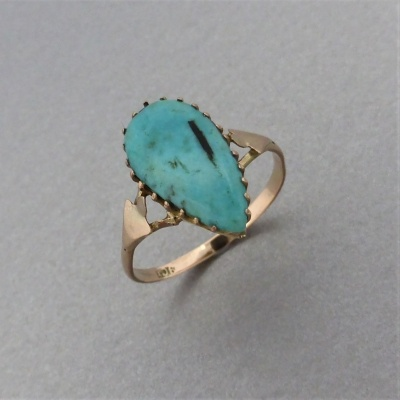p1140473 Beryl Lane - Antique c1910's Tear-shaped Turquoise Ring in 9ct Gold