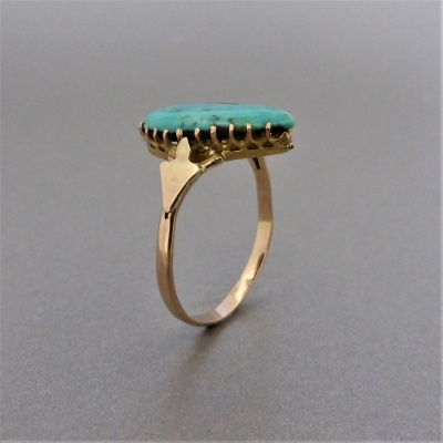 p1140477 Beryl Lane - Antique c1910's Tear-shaped Turquoise Ring in 9ct Gold