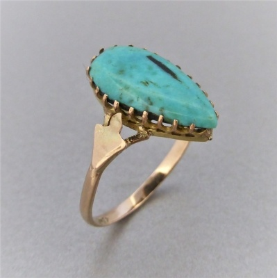 p1140481 Beryl Lane - Antique c1910's Tear-shaped Turquoise Ring in 9ct Gold
