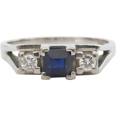 retro-sapphire-and-diamond-ring Beryl Lane - Vintage Retro Sapphire and Diamond Ring in 18ct white Gold