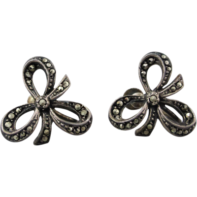 vintage-marcasite-earrings Beryl Lane - Vintage 1930's Sterling Silver Marcasite Ribbon Bow Earrings