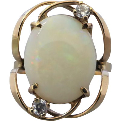 vintage-retro-opal-cz-ring Beryl Lane - Vintage Retro 60's Australian Solid White Opal & CZ Ring in 9ct Gold