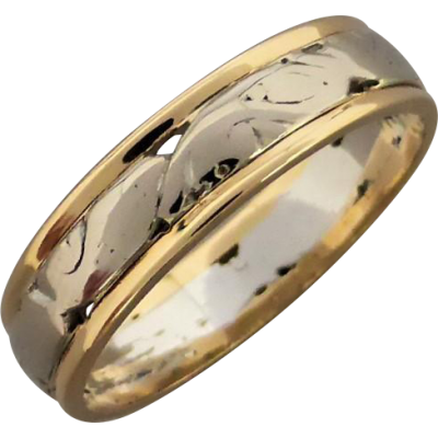 vintage_18ct_white__yellow_gold_patterned__pierced_band Beryl Lane - Vintage 18ct White & Yellow Gold Patterned & Pierced Band