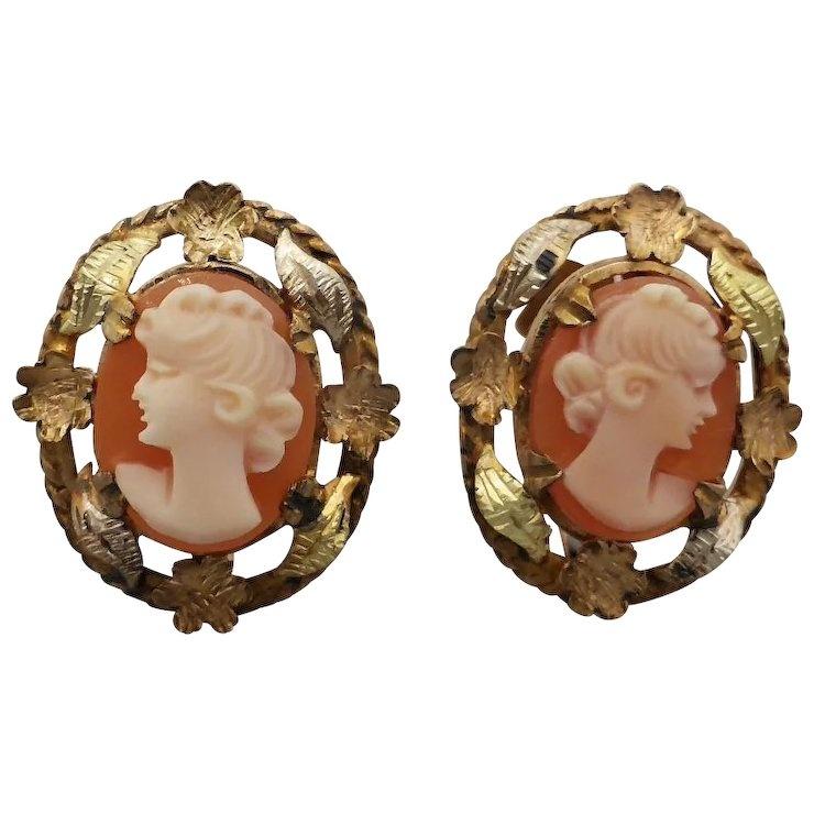 a7c88fa4eed3c Beryl Lane - Vintage c1920 Multi-tone 9ct Gold Cameo Earrings