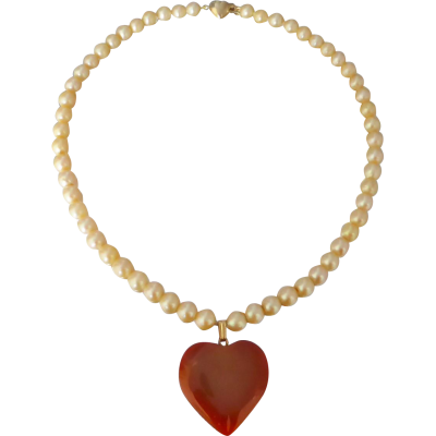 Beryl lane upcycled vintage golden cream akoya pearl strand with vintagepearlstrandcarnelianpendant beryl lane upcycled vintage golden cream akoya pearl strand with heart carnelian pendant aloadofball Image collections