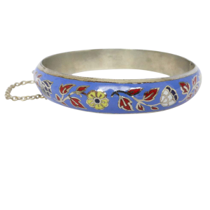vintagefloralenamelbangle Beryl Lane - Vintage Sterling Silver Floral Enamel Bangle