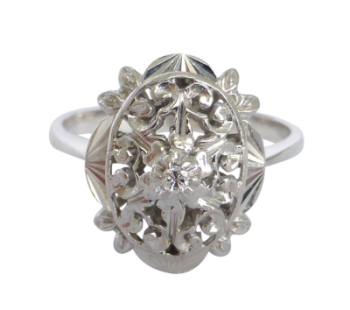 Contemporary 18ct White Gold Diamond Filigree Ring