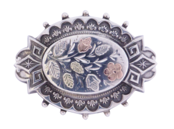 Victorian Sterling Silver Brooch with Gold Floral Overlay