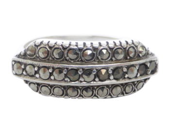 Sterling Silver Art Deco Marcasite Ring, Made in Germany