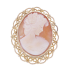 Vintage Filigree Shell Cameo Brooch Pendant in 9ct Gold