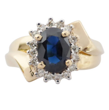 Sapphire and Diamond Cluster ring in 14ct Gold