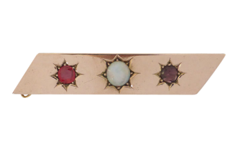 Antique Victorian 9ct Rose Gold Opal, Garnet Topped Doublet and Garnet Brooch