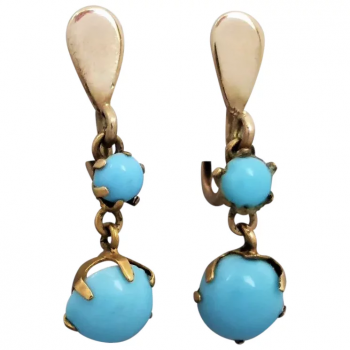 antique-edwardian-9k-gold-turquoise-earrings