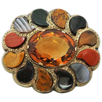 antique-scottish-9ct-gold-cairngorm-citrine-agate-brooch