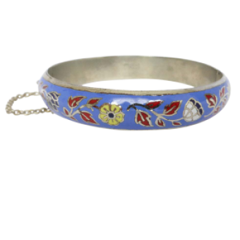 Vintage Sterling Silver Floral Enamel Bangle